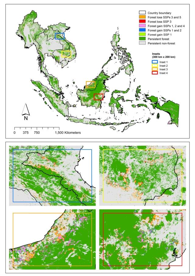 Figure1. Maps showing the spatially allocated projected forest cover changes in Southeast Asia under the five shared socioeconomic pathways (SSPs) (2015–2050)